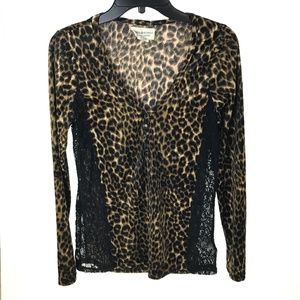 RL Denim & Supply Black & Brown Leopard Henley Top